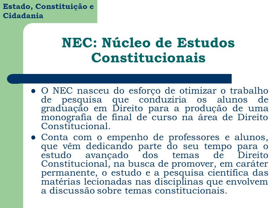 Estado, Constituição e Cidadania NEC: Núcleo de Estudos Constitucionais O NEC nasceu do esforço de otimizar o trabalho de pesquisa que conduziria os a