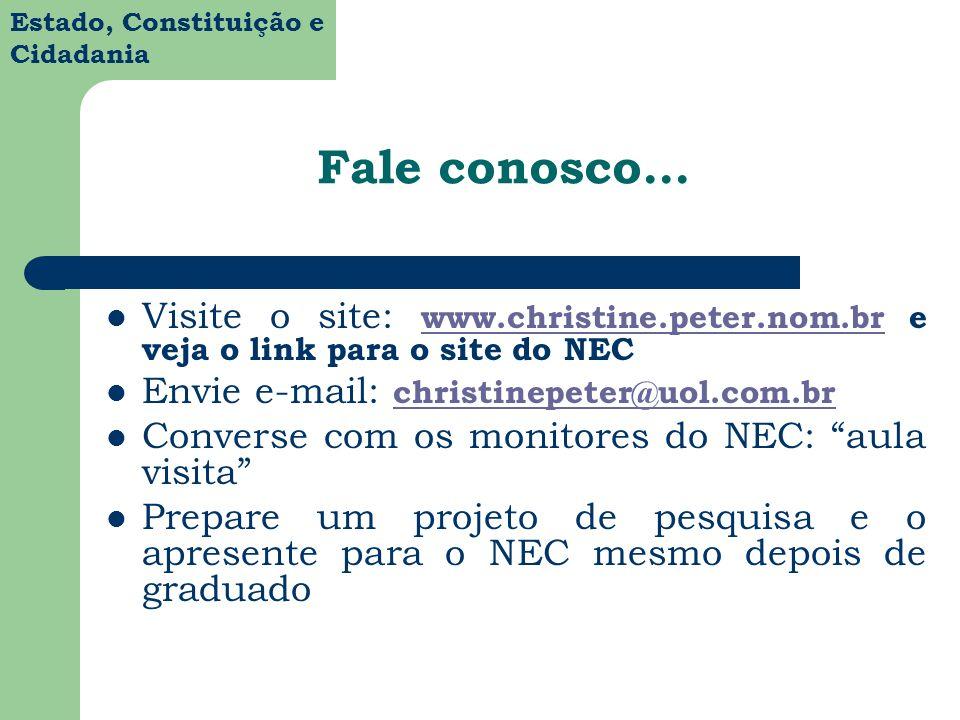 Estado, Constituição e Cidadania Fale conosco... Visite o site: www.christine.peter.nom.br e veja o link para o site do NEC www.christine.peter.nom.br