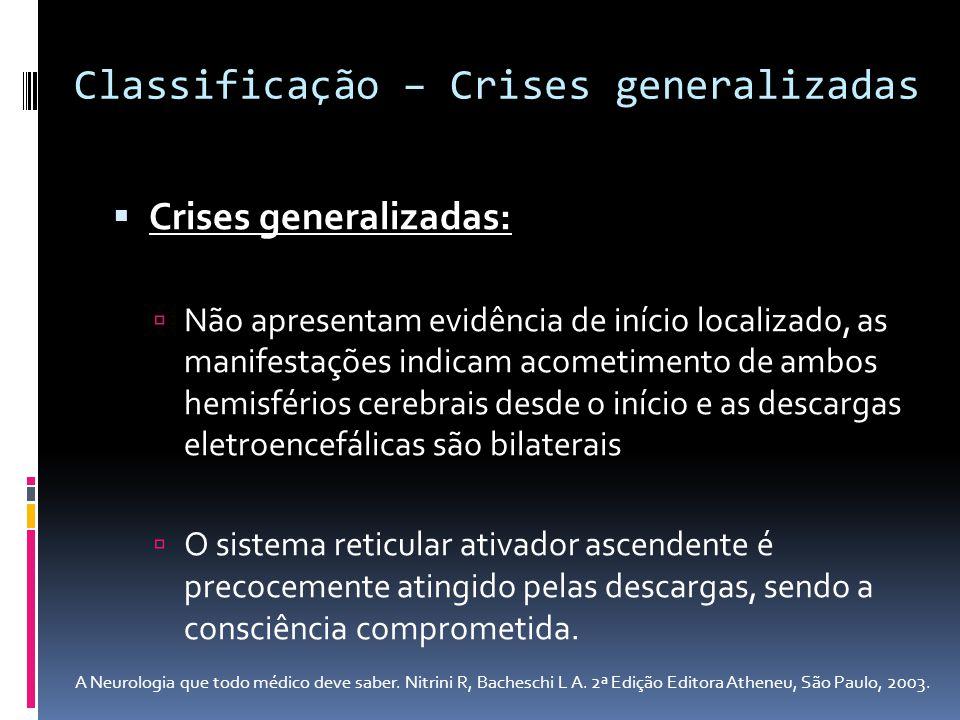 Crises generalizadas: Não apresentam evidência de início localizado, as manifestações indicam acometimento de ambos hemisférios cerebrais desde o iníc