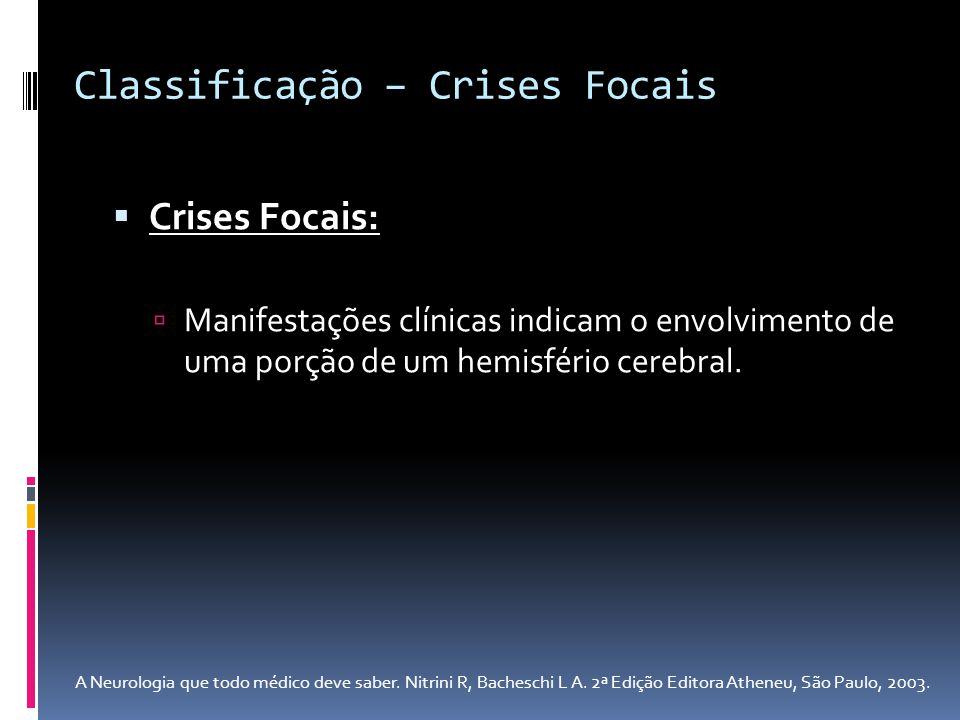 Crises Focais: Manifestações clínicas indicam o envolvimento de uma porção de um hemisfério cerebral. Classificação – Crises Focais A Neurologia que t