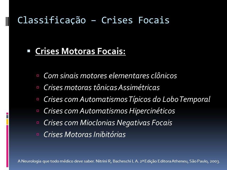 Crises Motoras Focais: Com sinais motores elementares clônicos Crises motoras tônicas Assimétricas Crises com Automatismos Típicos do Lobo Temporal Cr