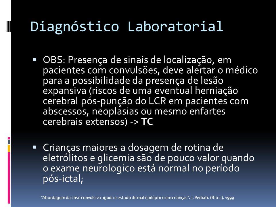 Diagnóstico Laboratorial OBS: Presença de sinais de localização, em pacientes com convulsões, deve alertar o médico para a possibilidade da presença d
