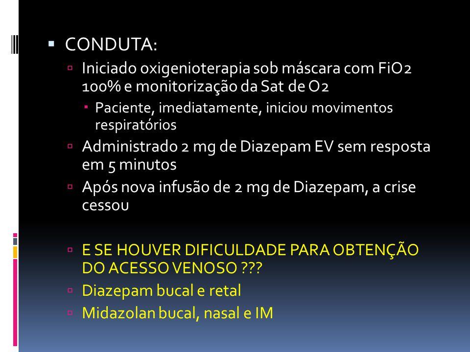 CONDUTA: Iniciado oxigenioterapia sob máscara com FiO2 100% e monitorização da Sat de O2 Paciente, imediatamente, iniciou movimentos respiratórios Adm