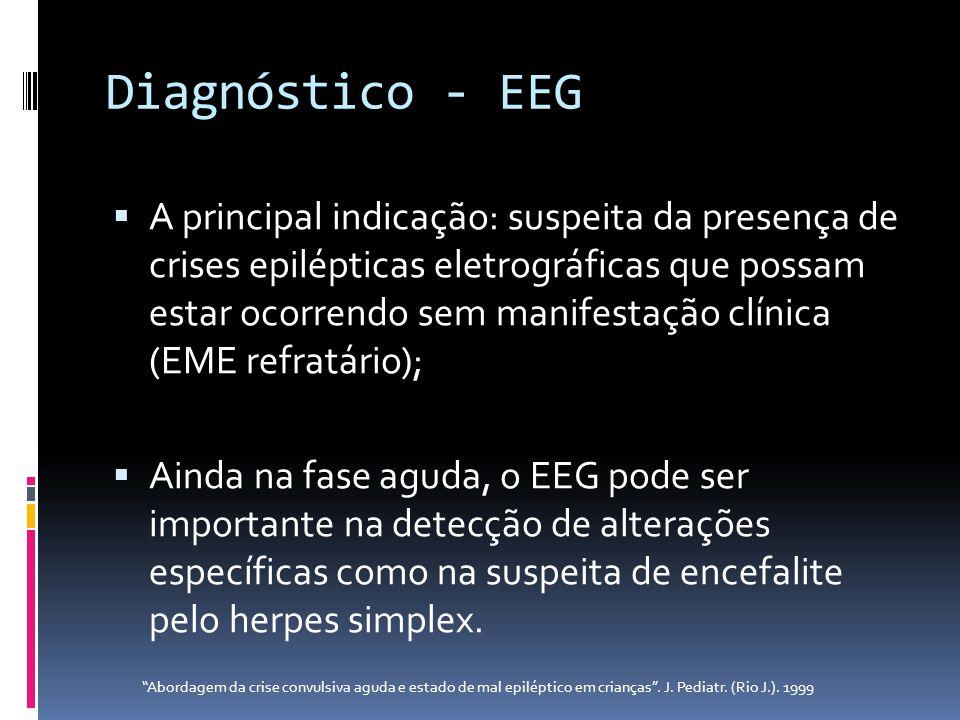 Diagnóstico - EEG A principal indicação: suspeita da presença de crises epilépticas eletrográficas que possam estar ocorrendo sem manifestação clínica