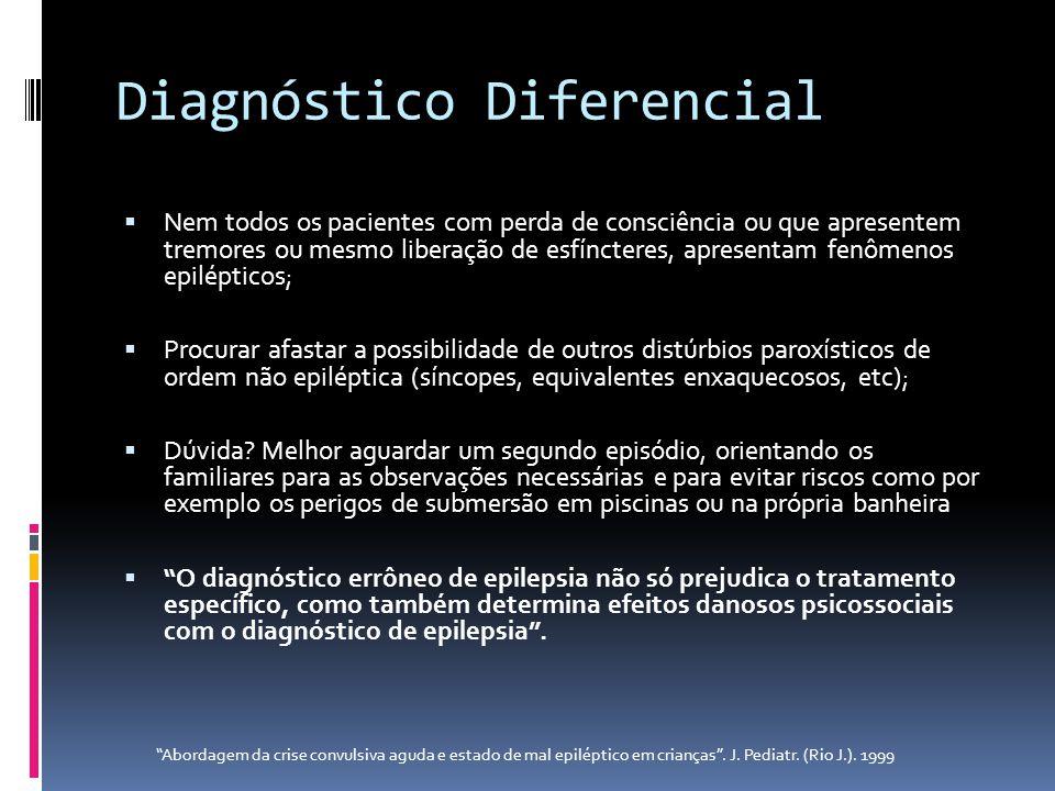 Diagnóstico Diferencial Nem todos os pacientes com perda de consciência ou que apresentem tremores ou mesmo liberação de esfíncteres, apresentam fenôm
