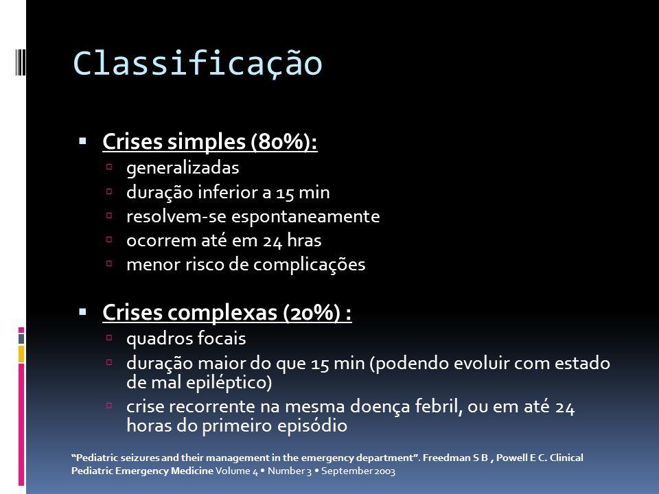 Classificação Crises simples (80%): generalizadas duração inferior a 15 min resolvem-se espontaneamente ocorrem até em 24 hras menor risco de complica