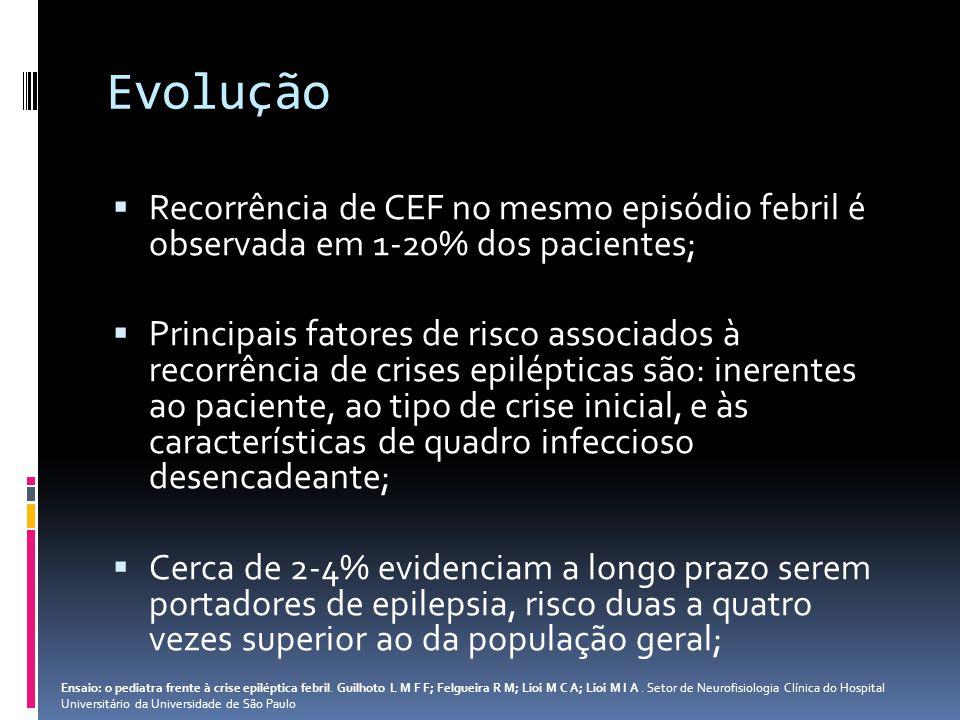 Evolução Recorrência de CEF no mesmo episódio febril é observada em 1-20% dos pacientes; Principais fatores de risco associados à recorrência de crise
