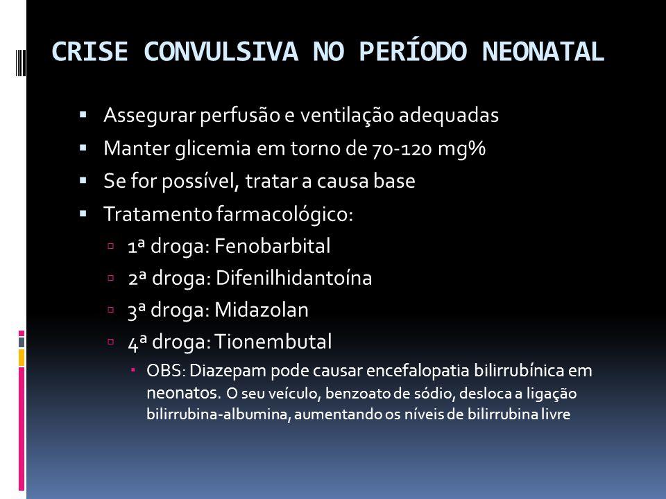CRISE CONVULSIVA NO PERÍODO NEONATAL Assegurar perfusão e ventilação adequadas Manter glicemia em torno de 70-120 mg% Se for possível, tratar a causa