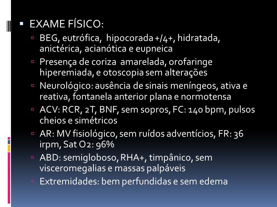EXAME FÍSICO: BEG, eutrófica, hipocorada +/4+, hidratada, anictérica, acianótica e eupneica Presença de coriza amarelada, orofaringe hiperemiada, e ot