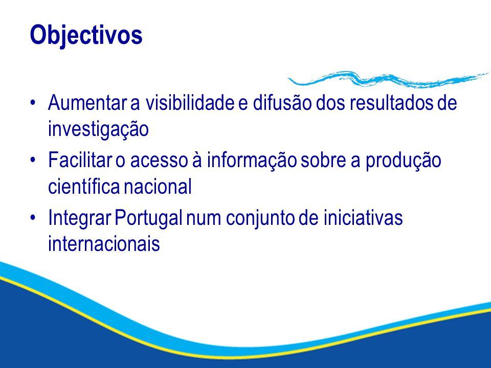 Objectivos Aumentar a visibilidade e difusão dos resultados de investigação Facilitar o acesso à informação sobre a produção científica nacional Integrar Portugal num conjunto de iniciativas internacionais