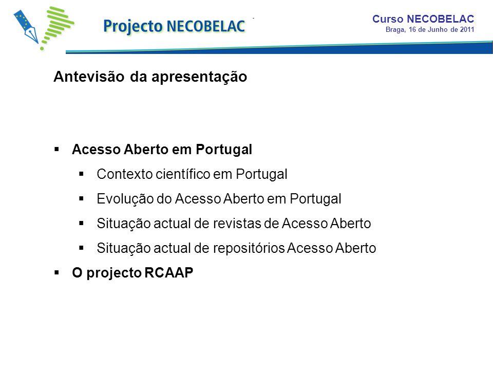 Acesso Aberto em Portugal Contexto científico em Portugal Evolução do Acesso Aberto em Portugal Situação actual de revistas de Acesso Aberto Situação
