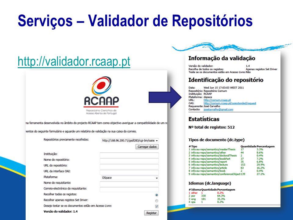 Serviços – Validador de Repositórios http://validador.rcaap.pt