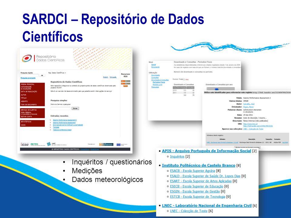 SARDCI – Repositório de Dados Científicos Inquéritos / questionários Medições Dados meteorológicos