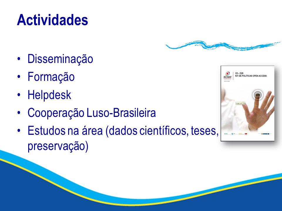 Actividades Disseminação Formação Helpdesk Cooperação Luso-Brasileira Estudos na área (dados científicos, teses, preservação)