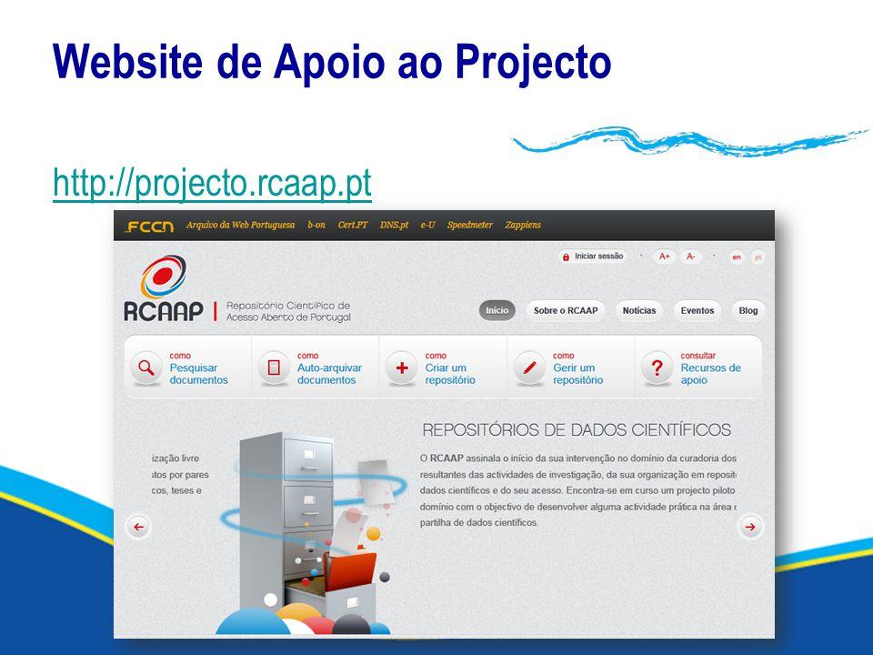 Website de Apoio ao Projecto http://projecto.rcaap.pt