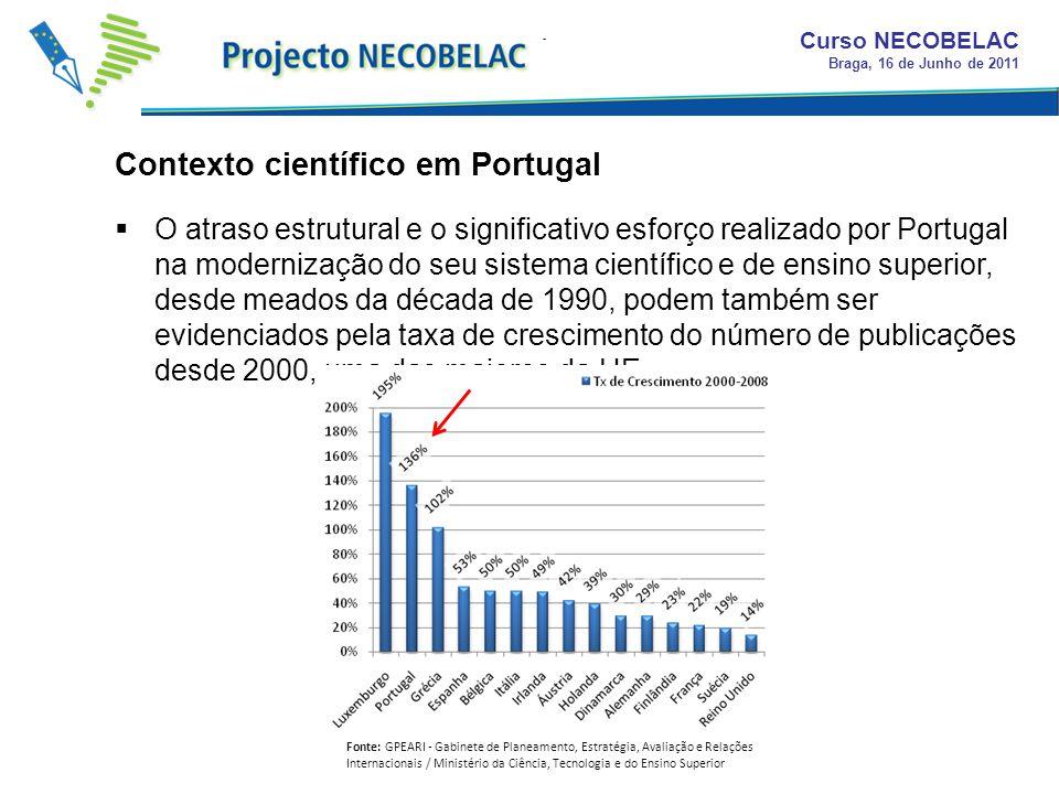 O atraso estrutural e o significativo esforço realizado por Portugal na modernização do seu sistema científico e de ensino superior, desde meados da década de 1990, podem também ser evidenciados pela taxa de crescimento do número de publicações desde 2000, uma das maiores da UE.