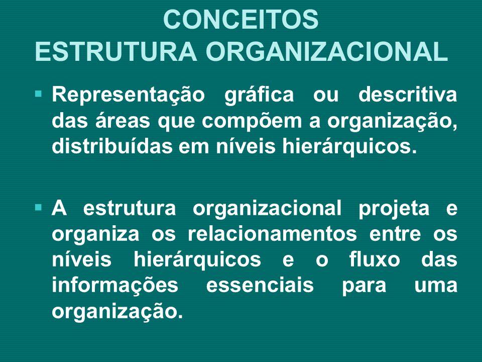 CONCEITOS ESTRUTURA ORGANIZACIONAL Organização da empresa é a ordenação e o agrupamento de atividades e recursos, visando ao alcance de objetivos e resultados estabelecidos (DJALMA, 2002, p.
