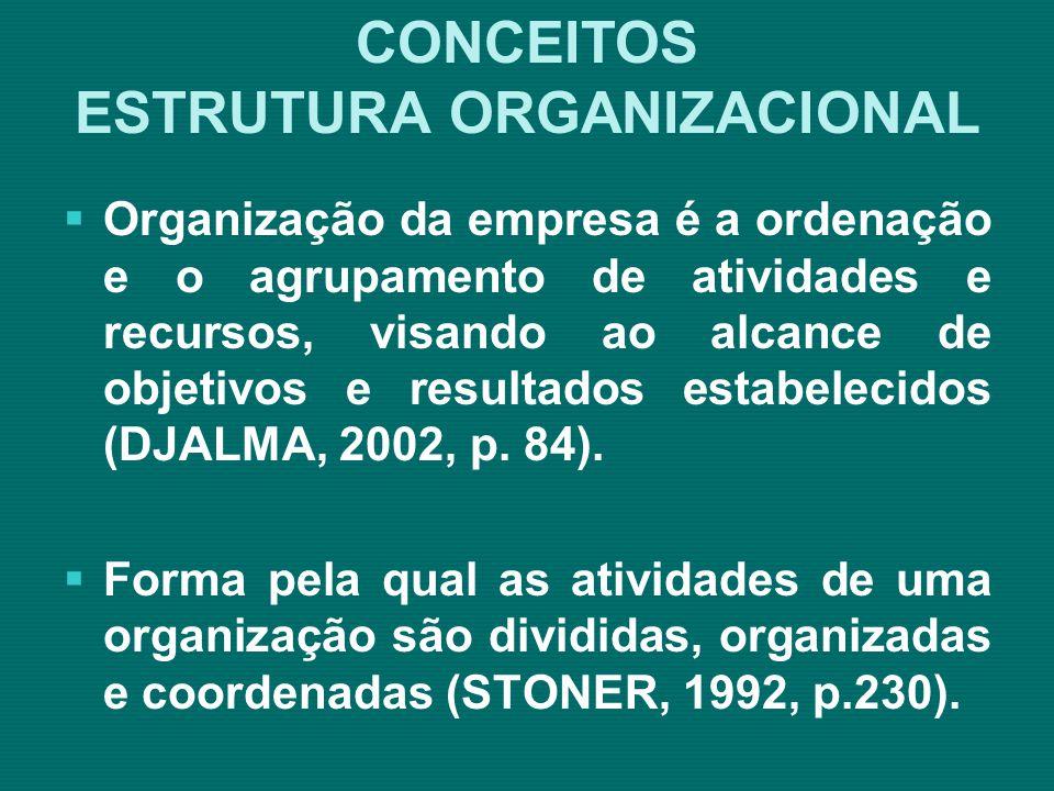 ESTRUTURA ORGANIZACIONAL Organograma Matricial Fonte: Araújo – 2000 – p.140 Quanto ao organograma matricial, resulta de um complemento à estrutura tradicional, incorporando forma de representação para estrutura voltada para projetos.