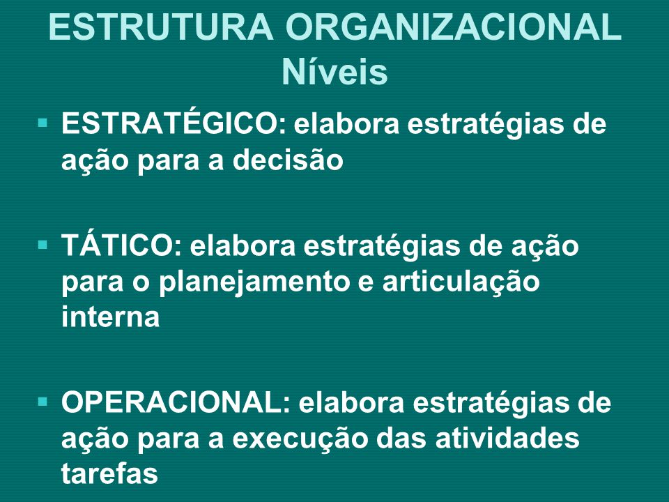 ESTRUTURA ORGANIZACIONAL Analisar os documentos legais de criação da organização; Compreender a evolução histórica da organização; Analisar o desenho da atual estrutura da organização; Elaborar estratégias de implementação da nova estrutura.