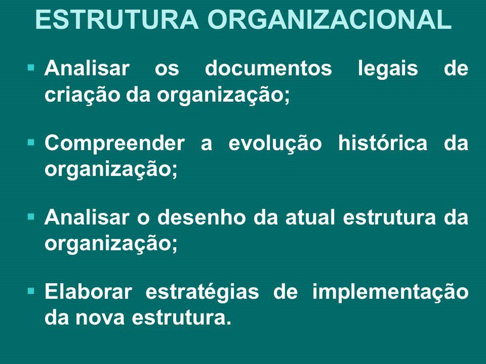 ESTRUTURA ORGANIZACIONAL Quais são as áreas de trabalho necessárias para a organização; Descrição de cada área de forma realista e razoável (objetivos, diretrizes, planos, metas e resultados esperados); Quais as atividades e tarefas desenvolvidas nas áreas; Quais os fluxos de informação entre as áreas; Qual o quadro de funcionários necessários para executar as atividades da área (estratégico, tático e operacional e os níveis de competência).
