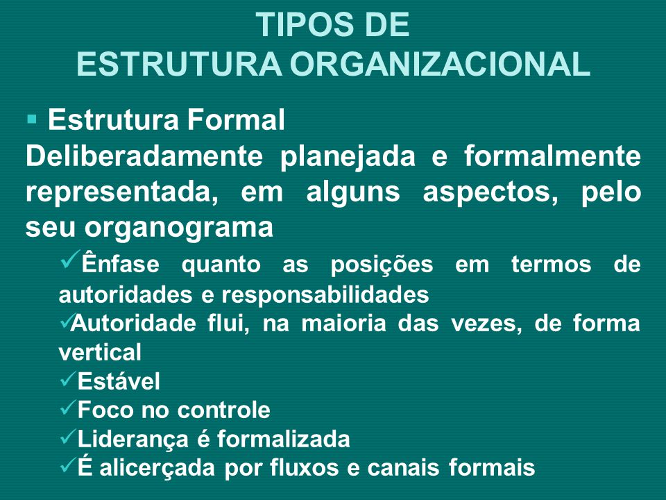 Estrutura Informal: Surge da interação social das pessoas, o que significa que se desenvolve espontaneamente.
