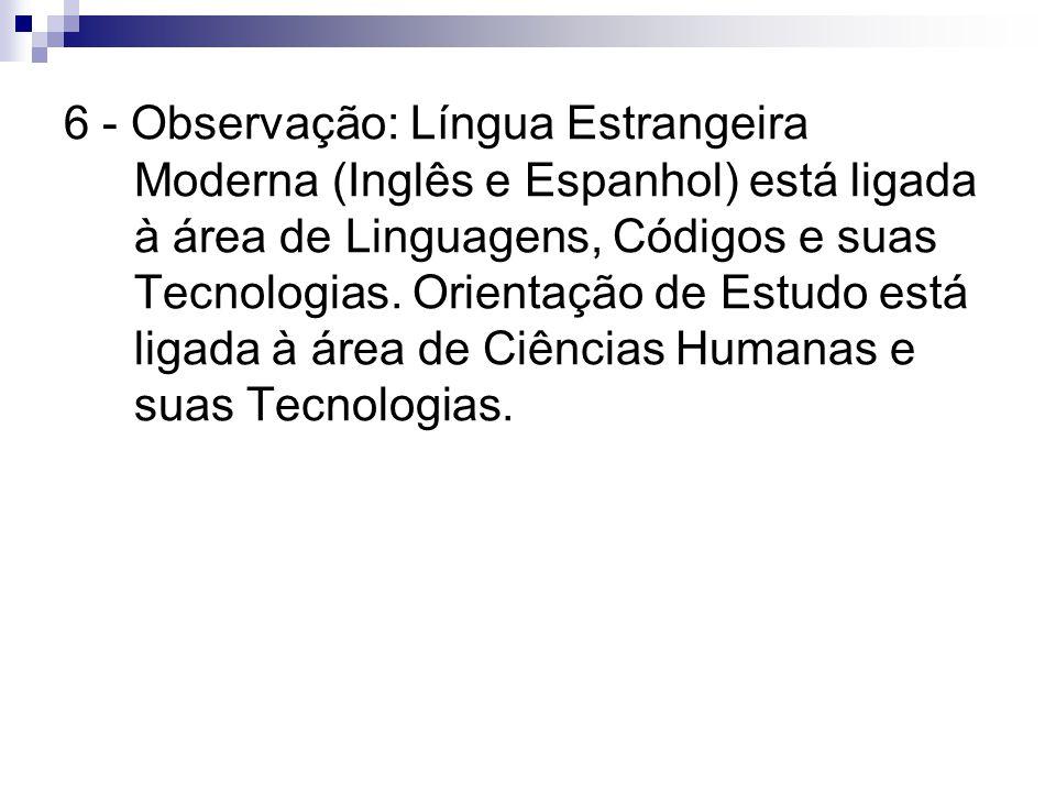 6 - Observação: Língua Estrangeira Moderna (Inglês e Espanhol) está ligada à área de Linguagens, Códigos e suas Tecnologias. Orientação de Estudo está