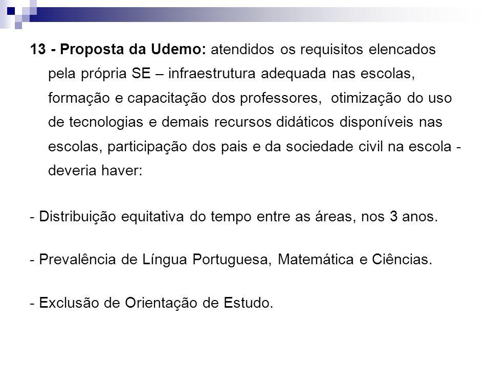 13 - Proposta da Udemo: atendidos os requisitos elencados pela própria SE – infraestrutura adequada nas escolas, formação e capacitação dos professore