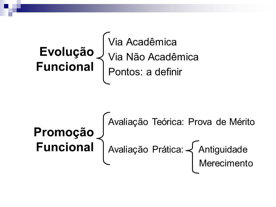 Via Acadêmica Via Não Acadêmica Pontos: a definir Evolução Funcional Avaliação Teórica: Prova de Mérito Avaliação Prática: Antiguidade Merecimento Pro