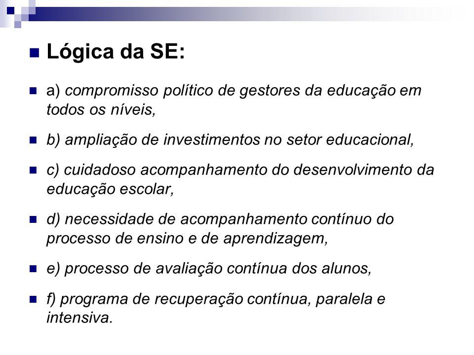 Lógica da SE: a) compromisso político de gestores da educação em todos os níveis, b) ampliação de investimentos no setor educacional, c) cuidadoso aco