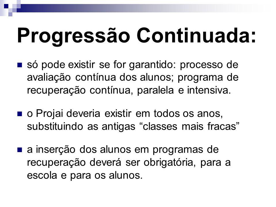 Progressão Continuada: só pode existir se for garantido: processo de avaliação contínua dos alunos; programa de recuperação contínua, paralela e inten