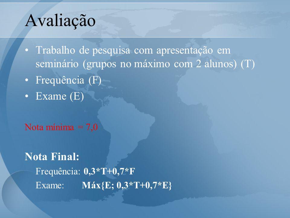 Avaliação Trabalho de pesquisa com apresentação em seminário (grupos no máximo com 2 alunos) (T) Frequência (F) Exame (E) Nota mínima = 7,0 Nota Final: Frequência: 0,3*T+0,7*F Exame: Máx{E; 0,3*T+0,7*E}