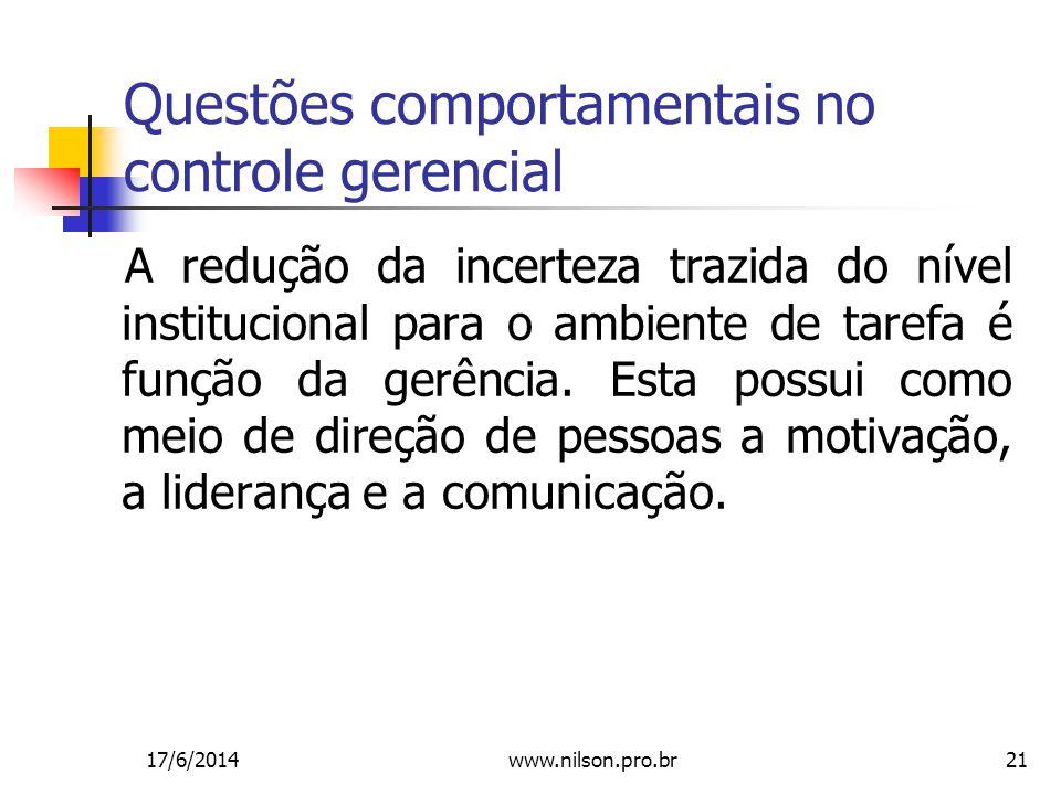 21 Questões comportamentais no controle gerencial A redução da incerteza trazida do nível institucional para o ambiente de tarefa é função da gerência.