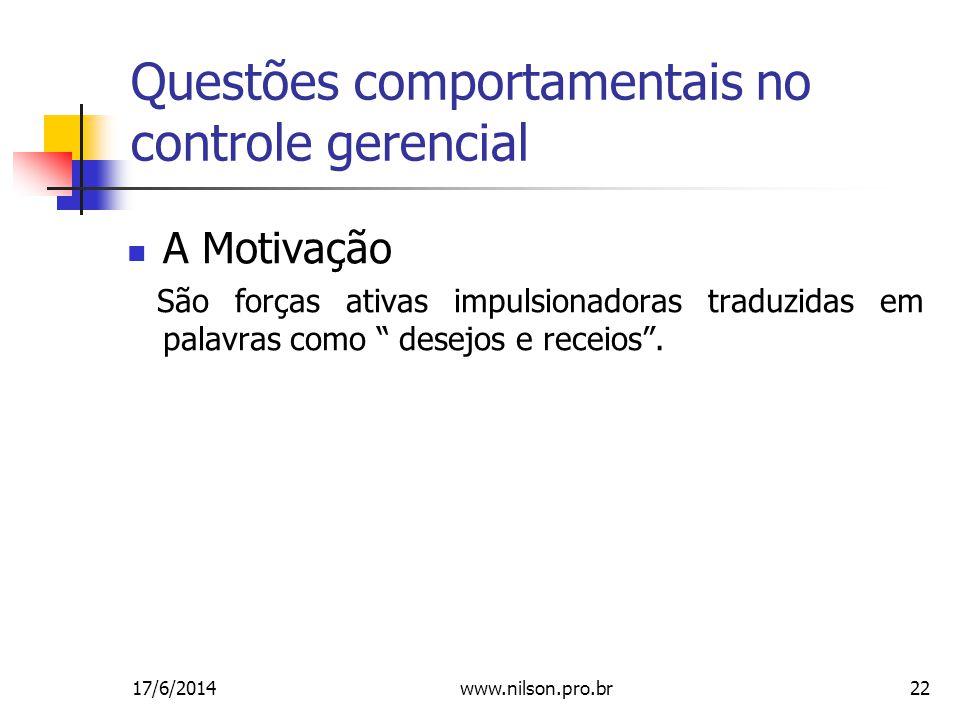 22 Questões comportamentais no controle gerencial A Motivação São forças ativas impulsionadoras traduzidas em palavras como desejos e receios.