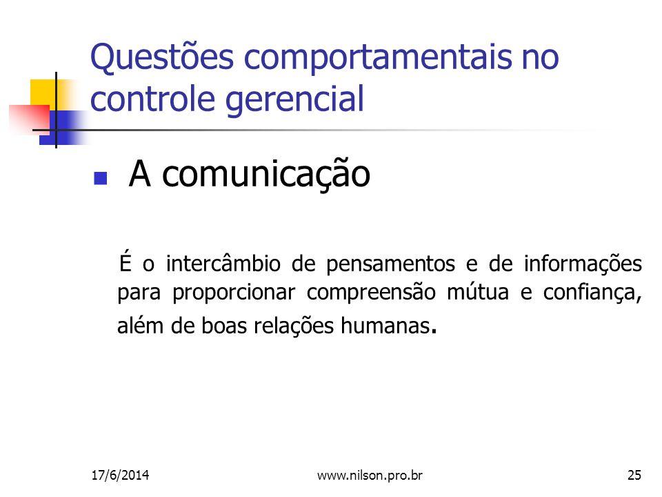25 Questões comportamentais no controle gerencial A comunicação É o intercâmbio de pensamentos e de informações para proporcionar compreensão mútua e confiança, além de boas relações humanas.