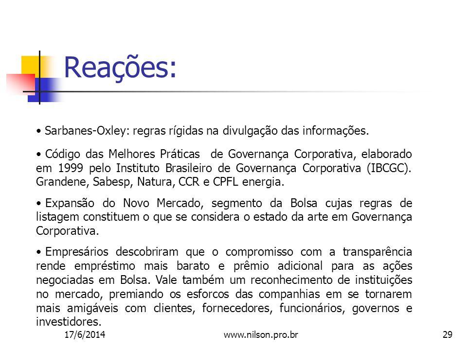 29 Reações: Sarbanes-Oxley: regras rígidas na divulgação das informações.