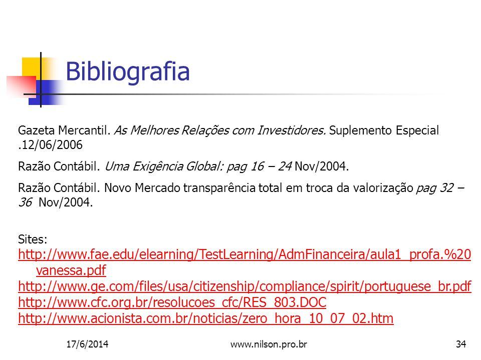 34 Bibliografia Gazeta Mercantil.As Melhores Relações com Investidores.