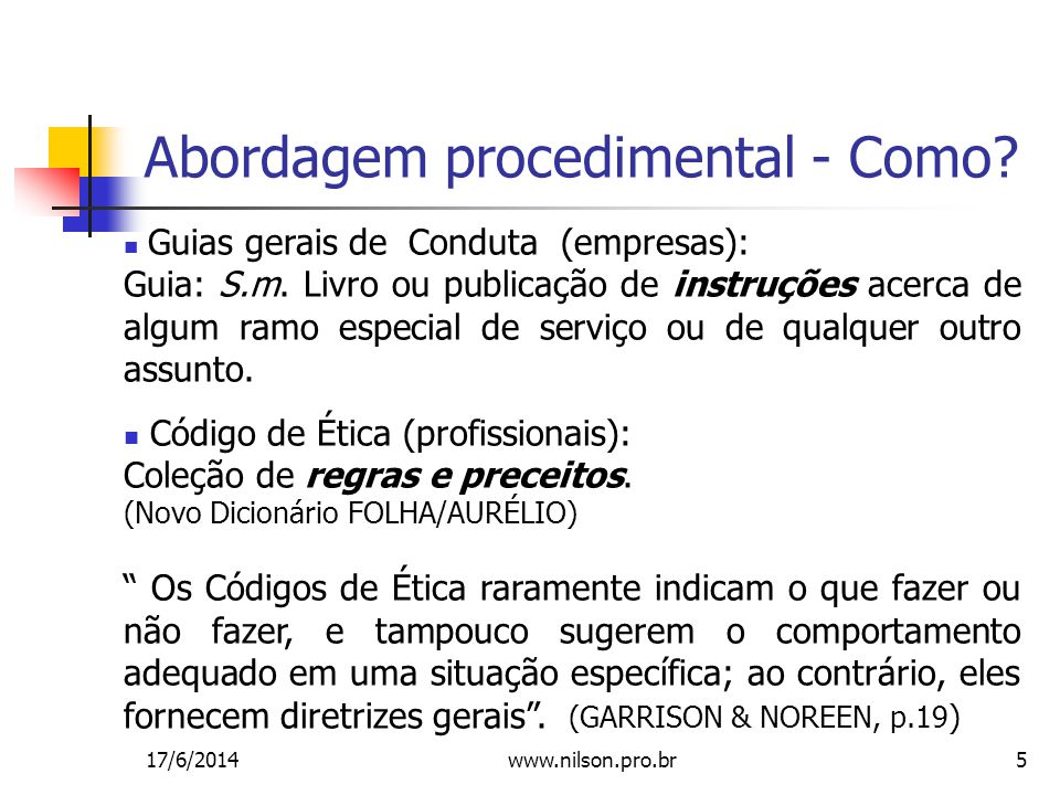 5 Abordagem procedimental - Como.Guias gerais de Conduta (empresas): Guia: S.m.