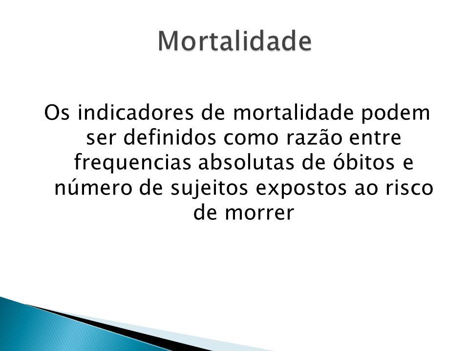 Os indicadores de mortalidade podem ser definidos como razão entre frequencias absolutas de óbitos e número de sujeitos expostos ao risco de morrer