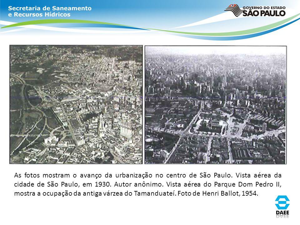 As fotos mostram o avanço da urbanização no centro de São Paulo. Vista aérea da cidade de São Paulo, em 1930. Autor anônimo. Vista aérea do Parque Dom