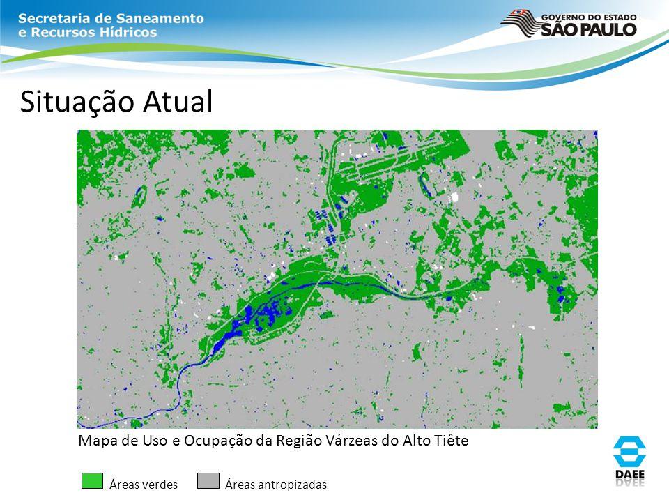 Situação Atual Mapa de Uso e Ocupação da Região Várzeas do Alto Tiête Áreas verdesÁreas antropizadas