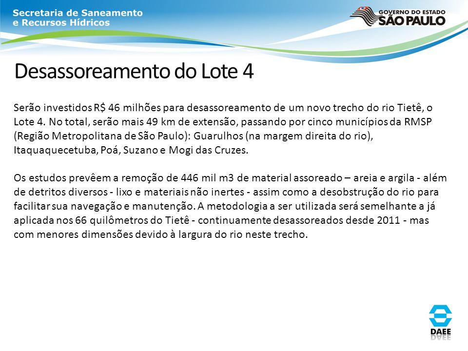 Desassoreamento do Lote 4 Serão investidos R$ 46 milhões para desassoreamento de um novo trecho do rio Tietê, o Lote 4. No total, serão mais 49 km de