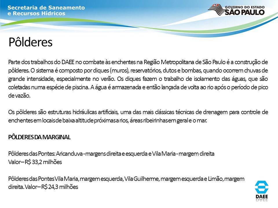 Pôlderes Parte dos trabalhos do DAEE no combate às enchentes na Região Metropolitana de São Paulo é a construção de pôlderes. O sistema é composto por