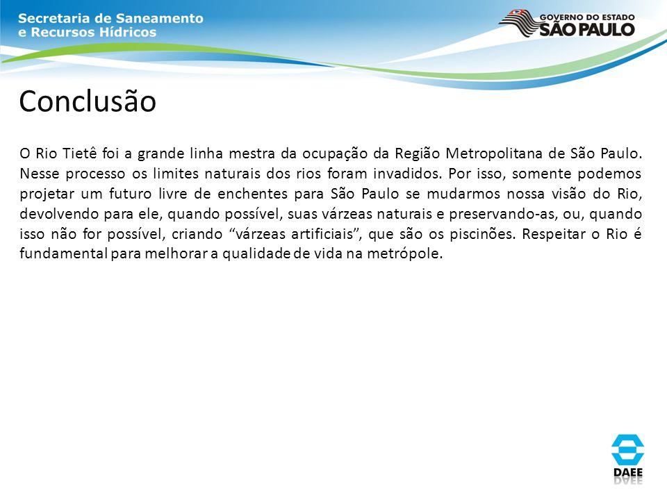 Conclusão O Rio Tietê foi a grande linha mestra da ocupação da Região Metropolitana de São Paulo. Nesse processo os limites naturais dos rios foram in