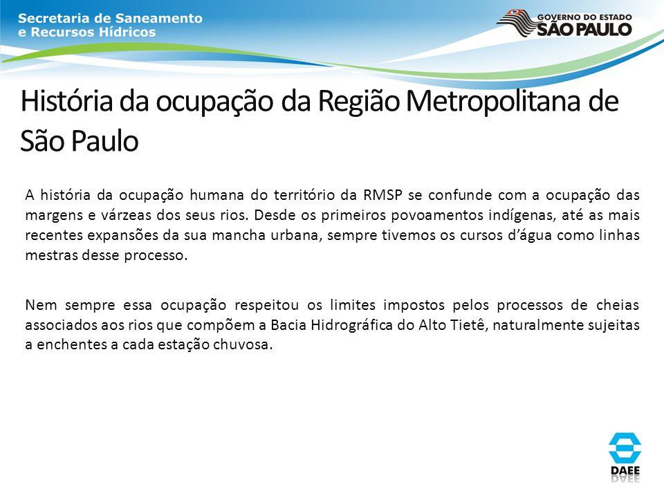 História da ocupação da Região Metropolitana de São Paulo A história da ocupação humana do território da RMSP se confunde com a ocupação das margens e