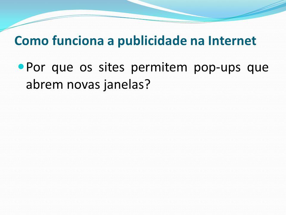 Como funciona a publicidade na Internet Por que os sites permitem pop-ups que abrem novas janelas?