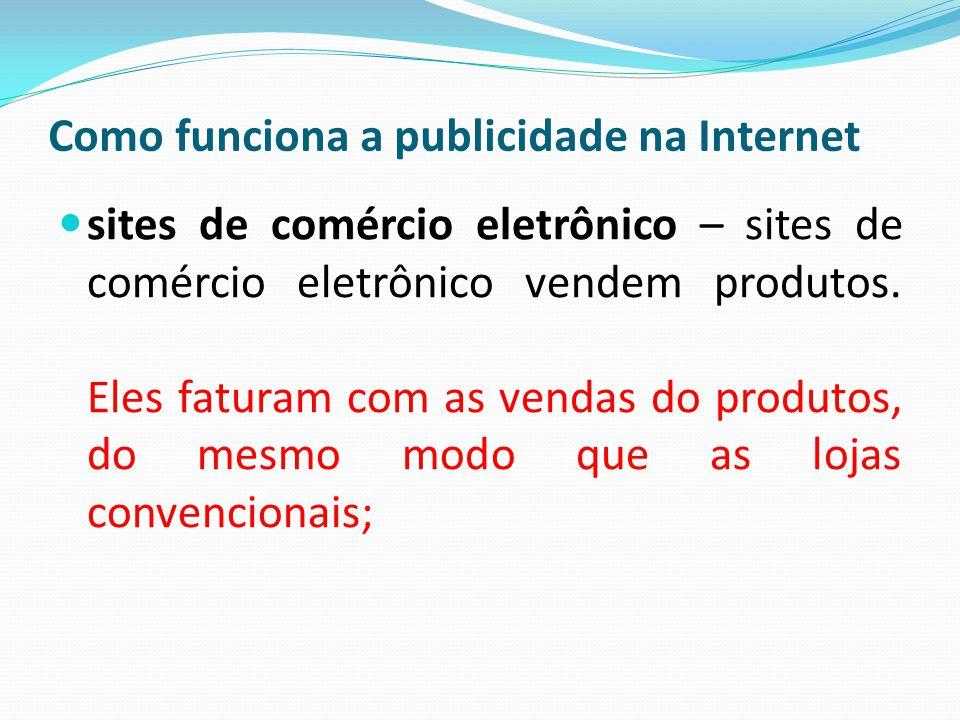 Como funciona a publicidade na Internet sites de comércio eletrônico – sites de comércio eletrônico vendem produtos. Eles faturam com as vendas do pro