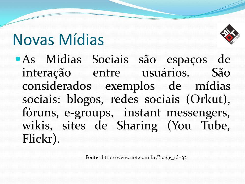 Novas Mídias As Mídias Sociais são espaços de interação entre usuários. São considerados exemplos de mídias sociais: blogos, redes sociais (Orkut), fó