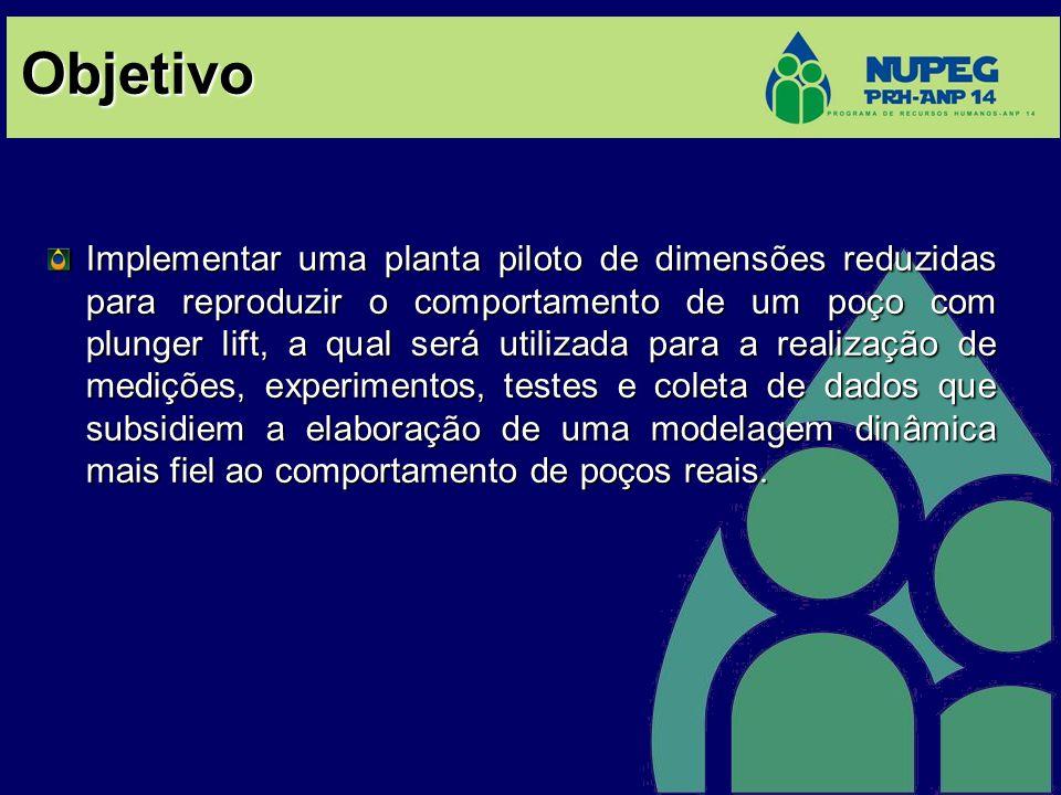 Objetivo Implementar uma planta piloto de dimensões reduzidas para reproduzir o comportamento de um poço com plunger lift, a qual será utilizada para
