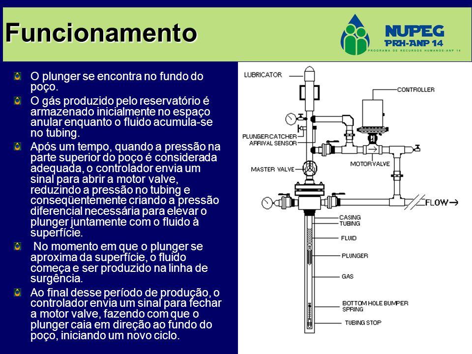 Funcionamento O plunger se encontra no fundo do poço. O gás produzido pelo reservatório é armazenado inicialmente no espaço anular enquanto o fluido a