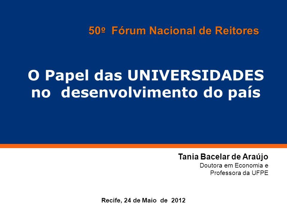 Clique para editar o estilo do título mestre Recife, 24 de Maio de 2012 O Papel das UNIVERSIDADES no desenvolvimento do país Tania Bacelar de Araújo D